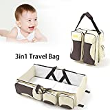 Cot and Change Table Baby Travel Diaper Bags,3 in 1 Portable Bassinet Cot Mummy Travel Bag Diaper Bag&Change Station Multifunctional Foldable Crib Mommy Bag with 5 Zippered Pockets for Newborn and Baby (US Stock)