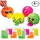 ChefSlime Emoji Slime Spitting Putty Squeezer   Soft & Squishy Stress Relief Party Favor   Trick Toy - Pack of 4 Emoji Slimes for Kids and Adults