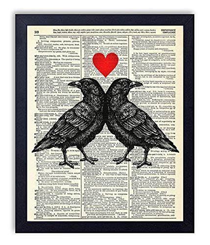 Crow Love Vintage Wall Art Upcycled Dictionary Art Print Poster 8x10 inches, Unframed]()