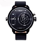 Randon Luxury Mens Fashion Design Dual Movt Quartz Analog Wrist Watch Black Leather Strap Sports Watches