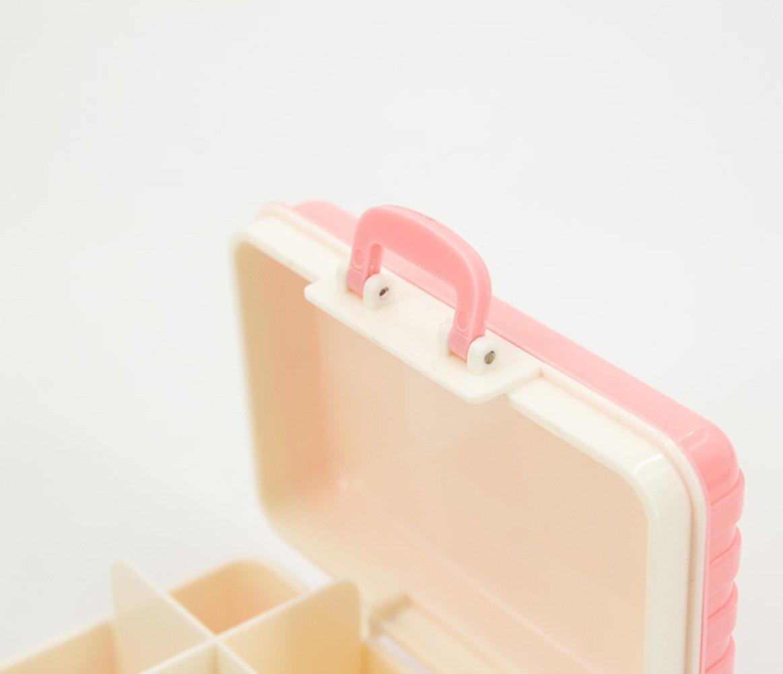 TC Suitcase Storage Box Portable Pills Vitamins Dispenser 6 Compartment with Lock Shut (Pink)