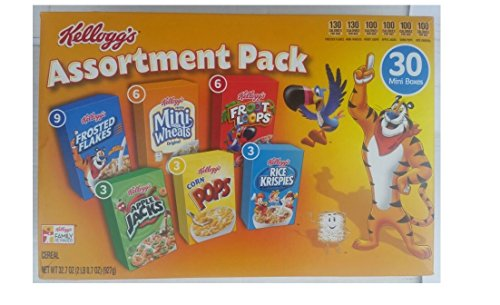 Kellogg's Cereal Jumbo Assortment Pack, 32.7 oz, 30 Mini Boxes