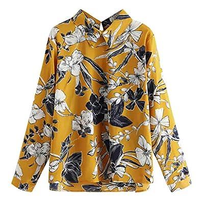 TWGONE Floral Blouses for Women Long Sleeve Plus Allover Print Boho Shirt Top