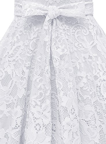 Cocktail Kleid Brautjungfernkleid Damen Vintage aus MUADRESS Knielang Spitzen Weiß Stil Cape q8x0Ind5n