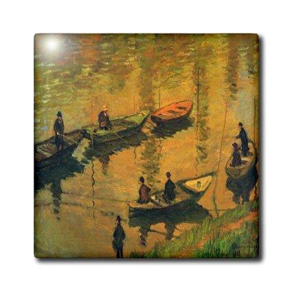 Florene - Monet Vintage Art - Print of Monet Painting Anglers On The Seine - 6 Inch Ceramic Tile (ct_203668_2)