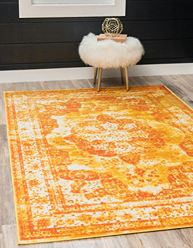 llection Traditional Vintage Orange Home Décor Area Rug (4' x 6') (6 Gold Area Rug)