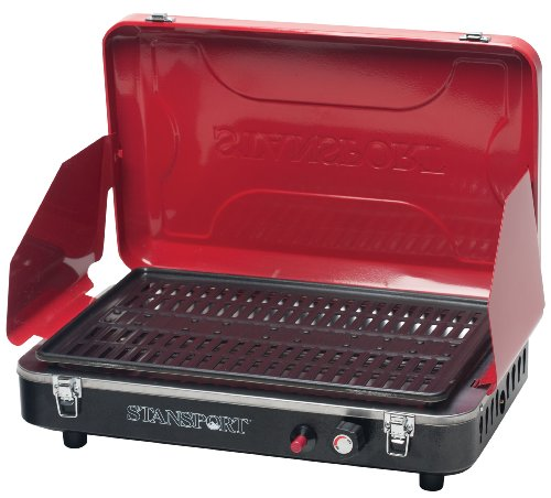 Stansport Deluxe Propane Grill Stove, Candy Apple Red (Electronic Propane Ignition Lantern)