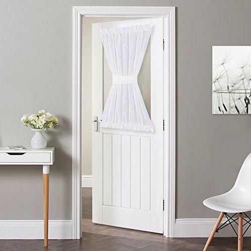 NICETOWN Front Door Sheer Curtain, Privacy Semitransparent Voile French Door Curtain with Top and Bottom Rod Pocket, Sheer Door Curtain, Bonus Tieback Included, W52 Inch x L40 Inch, 1 Panel, White (Tie Panel Door Back)