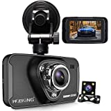 "1080P Dual Dash Cam Full HD Front and Rear Camera for Cars, Driving Recorder with IR Sensor, 170 Degree Wide Angle 6G Lens, G-Sensor, WDR, Night Vision, Loop Recording,2.7"" LCD Big Screen"