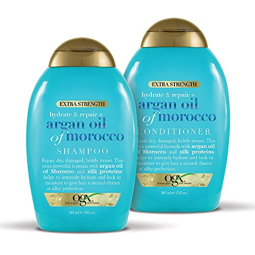 (OGX Extra Strength Hydrate & Repair + Argan Oil of Morocco Shampoo & Conditioner Set, 13 Ounce)