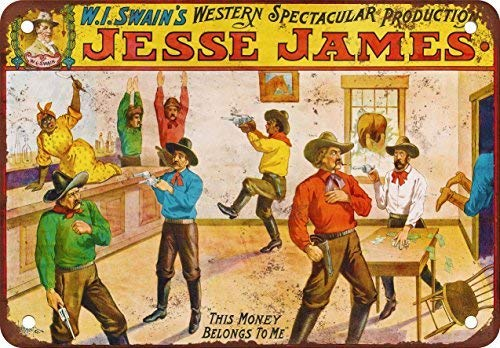 (Swain's Spectacular Jesse James Show Vintage Look Reproduction Aluminum Metal Sign for Garage Easy to Mount Indoor & Outdoor Use)