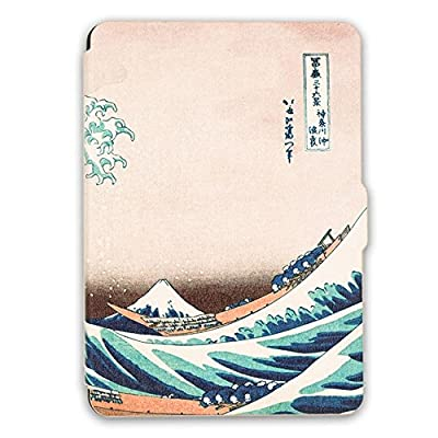 Kandouren Case Cover for Kindle Paperwhite – Great Wave Art Skin,Light Slim Leather Cover with Autowake(Fit 6 inch 6th generation Amazon Kindle Paperwhite 2013 2015 2016),white color book by kandouren product