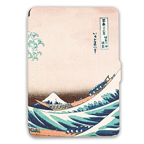 Kandouren Case Cover for Kindle Paperwhite – Great Wave Art Skin,Light Slim Leather Cover with Autowake(Fit 6 inch 6th generation Amazon Kindle Paperwhite 2013 2015 2016),white color book (Accessories Light Kindle)