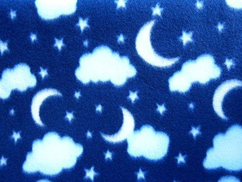 Clouds and Moons on Blue Fleece 1 Yard (Moon Fleece Fabric)