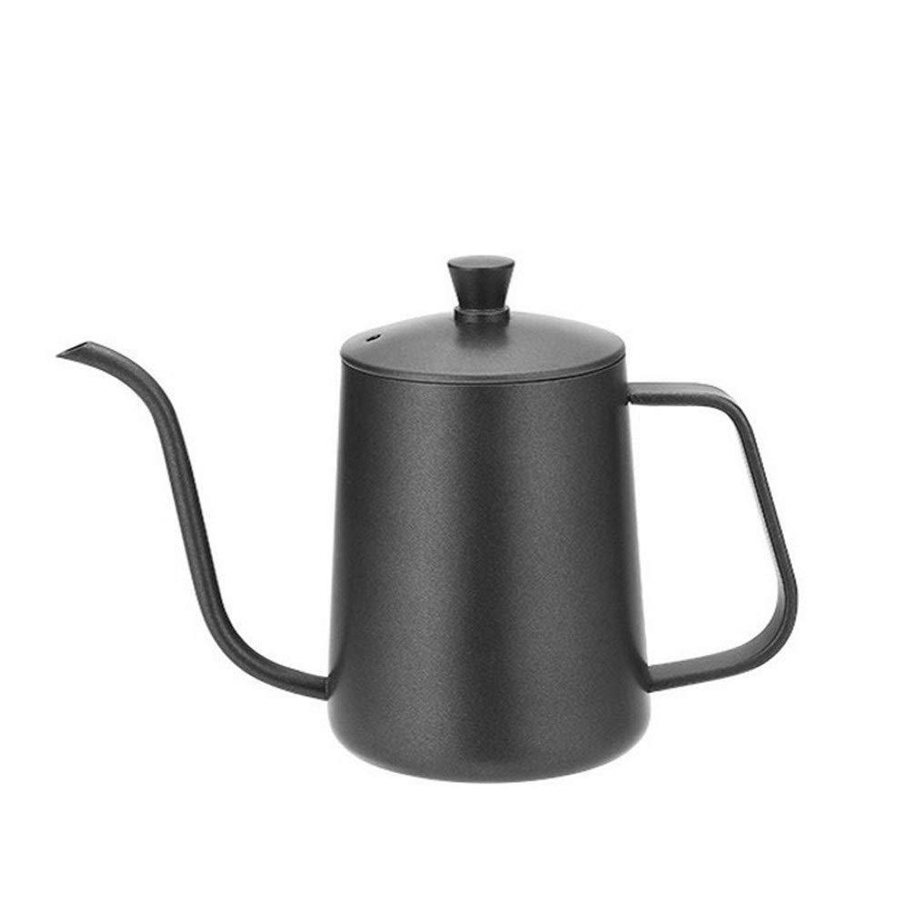 Coffee hand-washing pot-600ml hanging ear coffee hand-washing pot with lid Coffee hand-washing pot Teflon hand-washing pot black 304 stainless steel by QIAOXINGGXING