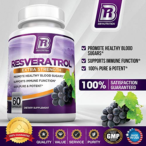 51tCqqhjAcL - BRI Resveratrol - 1200mg Potent Trans-Resveratrol Natural Antioxidant Supplement with Green Tea and Quercetin Promotes Anti-Aging, Heart Health, Brain Function and Immune System