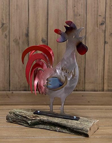 Hand Forged Wrought Iron Rooster on Wooden Log (Wrought Iron Rooster)