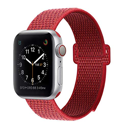 BEA FASHION Sport Bands Compatible with Apple Watch Band 38mm Soft Breathable Woven Nylon Replacement Sport Loop Band for Apple Watch Series 3 Series 2 Series 1 Red