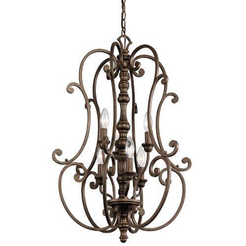 Kichler Copper Outdoor Pendant (Kichler Lighting 43282TRZ Mithras 6-Light Foyer Pendant, Terrene Bronze Finish)