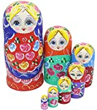 Set 7 Pcs Pastoral Style Blonde Girl Flower Multicolor Traditional Russian Nesting Dolls Handmade Matryoshka Doll Wooden Stacking Toy Kids Toy Gift