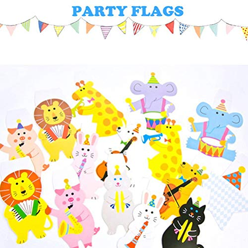 Banners, Streamers & Confetti - Cartoon 15pcs 2m Animal Banner Decor Birthday Party Happy Family Baby Kids Shower Garland Striped - Animated Flag Flags Garland ()