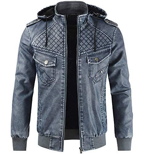 Sunhusing Autumn Winter Men's Fashion Stand Collar Detachable Hooded Leather Jacket Coat