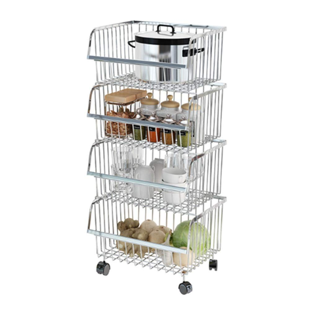 Kitchen shelf HUO Multi-Function Rack 2/4 Layer Removable Storage Cart Thick 304 Stainless Steel Combination Stacking Match (Size : 413585.5cm)