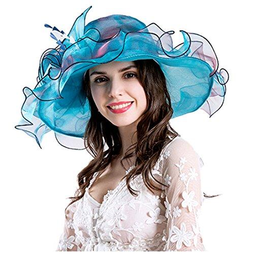 1b269400b6b46 Women Foldable Organza Church Derby Hat Ruffles Wide Brim Summer Bridal Cap
