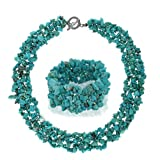 Bling Jewelry Multi Strand Reconstituted Turquoise Chips Cluster Necklace and Bracelet Set Silver Plated