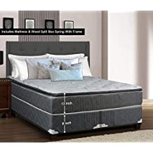 Greaton 9030vF-3/8-2S Fully Assembled Medium Plush Pillow Top Innerspring Mattress and Split Box Spring/Foundation Set with Frame / 74x44 (Not Standard Size) / Grey and, White, Color
