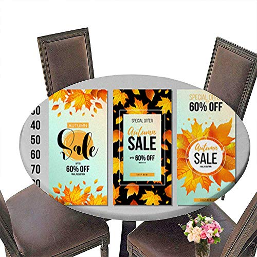 100% Polyester Luxury Round Tablecloth,Set of Autumn Sale Flyer Template with Lettering Orange Leaves Fall Resistant and Waterproof Tablecloths up to 63.5
