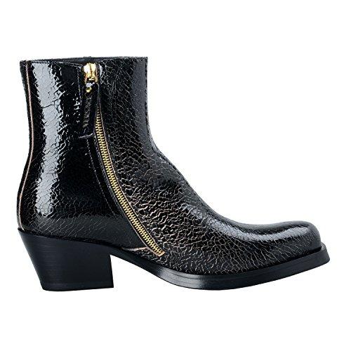 Versace Uomo Nero Pelle Scamosciata Cowbow Stivaletti Scarpe Us 7 It 40;