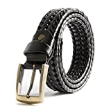 ECHAIN Men Braided Woven Genuine Leather Belt Black (waist:31-33)