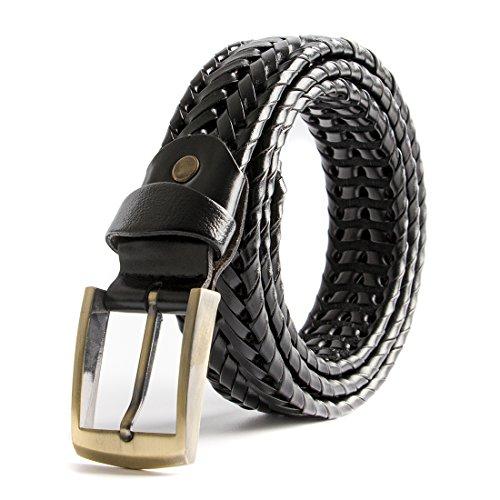 ECHAIN Men Braided Woven Genuine Leather Belt, Black, waist:34-36 Black Woven Leather