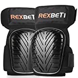 REXBETI Knee Pads for Work, Construction Gel Knee Pads Tools, Heavy Duty Comfortable Foam Knee Pads for Cleaning Flooring and Garden, Strong Stretchable Double Straps for Any Size - Black, 1 Pair