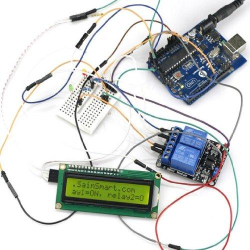 SainSmart C59 Kit with Mega2560 + 2-Channel Relay Module + IIC 1602 LCD + Prototype Shield for UNO Mega2560 1280 Duemilanove R3 AVR ATMEL Robot