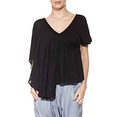 62bcc65715eb27 T.SEBAN Womens V-neck Ruffle Short Sleeve Loose Shirts Solid Warp Blouse  Tops  Amazon.co.uk  Clothing
