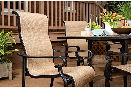 Brigantine 7-Piece Rust-Free Aluminum Outdoor Patio Dining Set with 6 Dining Chairs and Aluminum Rectangular Dining Table, BRIGANTINE7PC