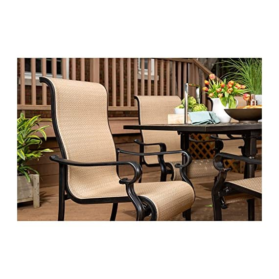 Brigantine 7-Piece Rust-Free Aluminum Outdoor Patio Dining Set with 6 Dining Chairs and Aluminum Rectangular Dining Table, BRIGANTINE7PC - Multi-step antique finish over rustproof aluminum frames on both table and chairs Anti-corrosion Interpol power coating on both table and chairs Tabletop features an attractive lattice pattern - patio-furniture, dining-sets-patio-funiture, patio - 51tCuE9dnKL. SS570  -