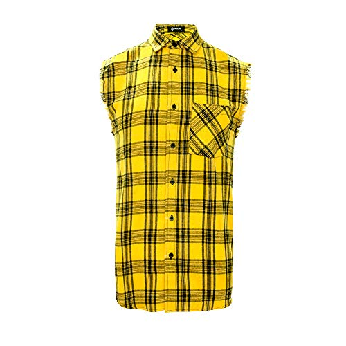 Button Down Plaid Sport Shirt - MCULIVOD Sleeveless Plaid Snap-Front Shirt for Men, Cowboy Button Down Shitrs Yellow,Medium
