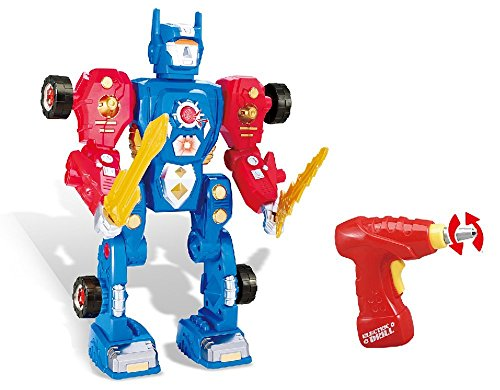 toys bhoomi build your own transform building blocks robot toy take a part modification playset with realistic drill, lights  amp; sound – 31 pieces G