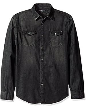 Jeans Men's Long Sleeve Basic Denim Shirt