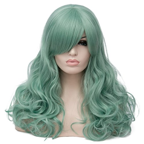Alacos 60cm Long Curly Synthetic Heat Resistant Full Head Costume Anime Cosplay Wig with Bangs for Women +Cap (Neon Green)