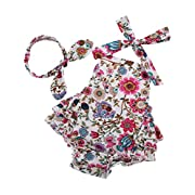 Fubin Baby Girl's Floral Print Ruffles Romper Summer Clothes With Headband,White Flower,0-6 months
