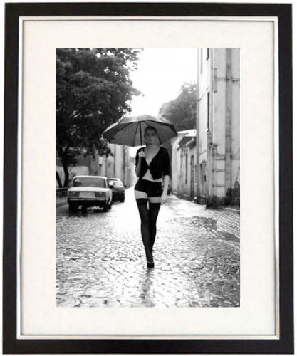 Off to work black white framed print of a sexy lady with