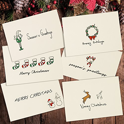 Merry Christmas Greeting Cards - Assorted Xmas/Holiday Party Supplies Invitation (36 Cards & Envelopes)