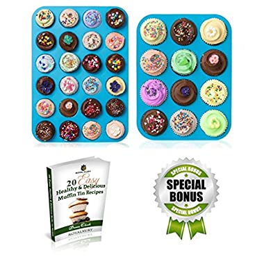 Muffin Pans - Cupcake Pan - Muffin Tin - Cupcake Tin - Silicone Mold Baking Pans - Large Muffin Top Pan 12 cups - Mini Muffin Pan 24 cup - Non Stick Bakeware Molds - Mini Cheesecake Pans - Pie Tins