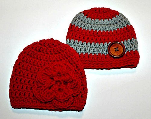 883c96a2ab0 Amazon.com  Newborn Twin boy and girl beanie hats