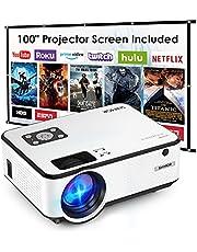 SHIMOR Mini proyector, C9 7500L HD Proyector de Cine al Aire Libre con Pantalla de proyección de 100 Pulgadas, Compatible con TV Stick, Videojuegos, HDMI, USB, AUX, AV, PS4, portátil, Smartphone