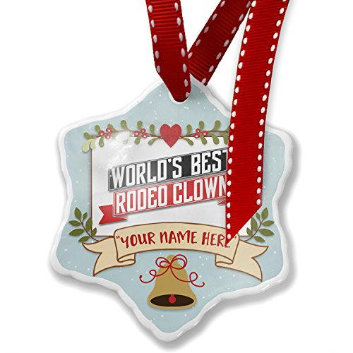 Rodeo Christmas Ornament (Add Your Own Custom Name, Worlds Best Rodeo Clown Christmas Ornament NEONBLOND)